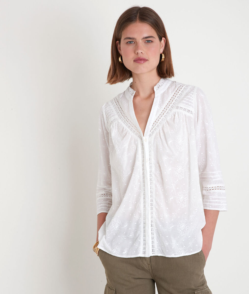 Blouse brodée en coton blanc Aicha PhotoZ | 1-2-3