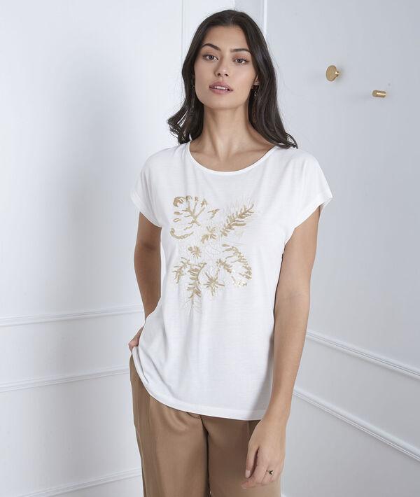 Ecru geborduurd T-shirt Pamplemousse PhotoZ | 1-2-3