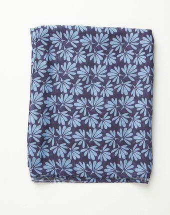 Foulard imprimé fleurs bleu annick bleu.