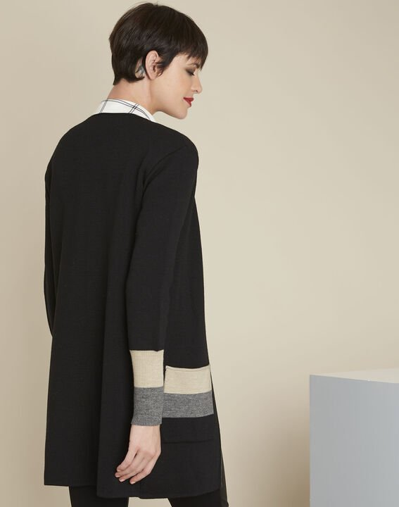 Bold long black cardigan (4) - Maison 123