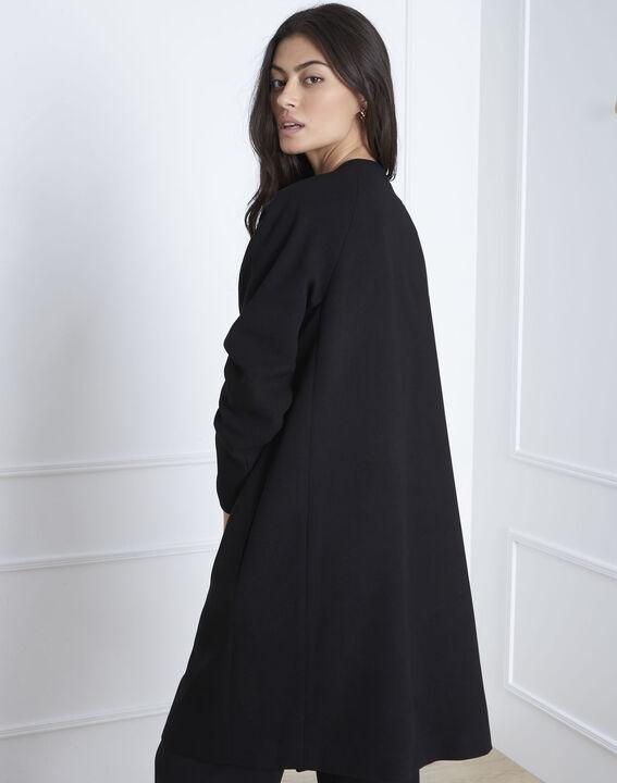 Schwarzer Mantel mit Stickereien Dionne (4) - Maison 123