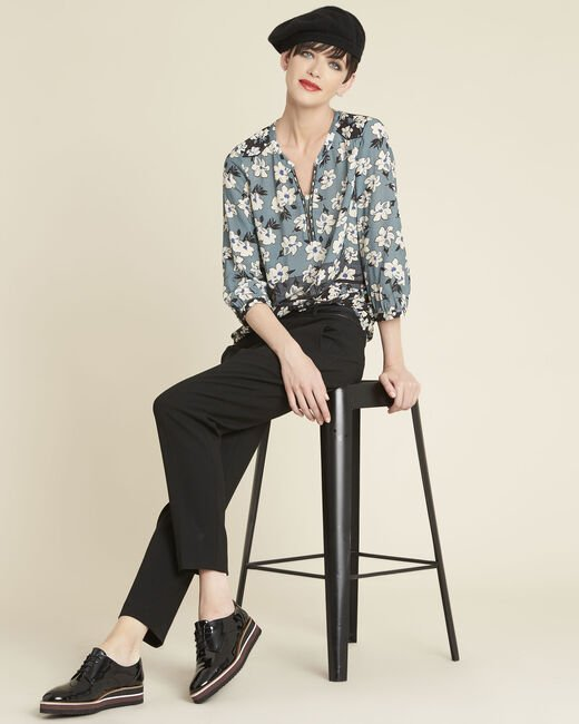 Clap navy blue blouse with floral print (2) - 1-2-3