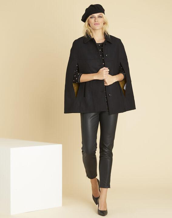 Pull noir à pois et coutures dorées Brigitte (2) - 1-2-3