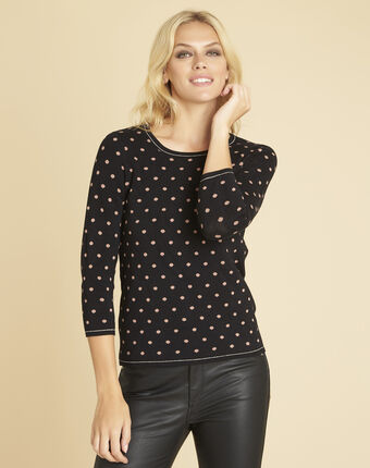 Brigitte black sweater with polka dots and gold threading black.