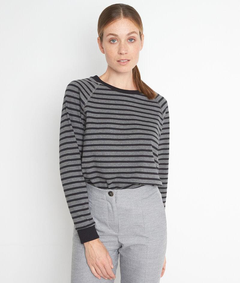 Tee-shirt à manches longues marinière gris et noir Eve PhotoZ   1-2-3