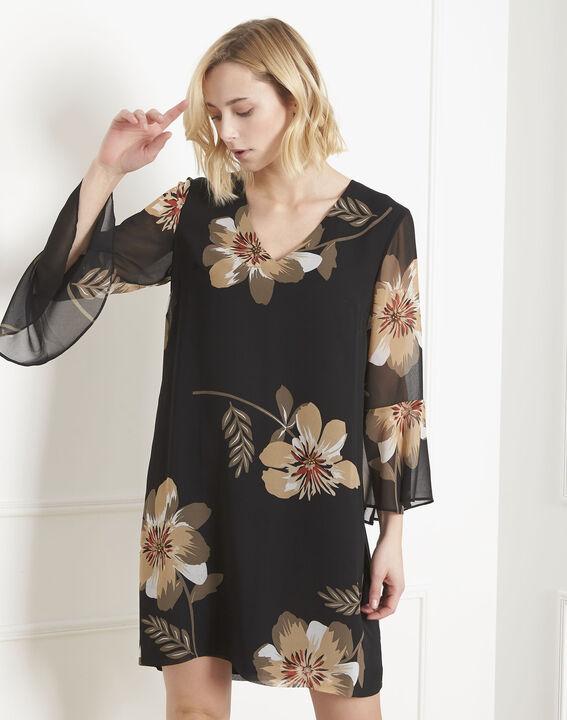 Schwarzes Kleid mit Blumen-Print Astrid (1) - Maison 123
