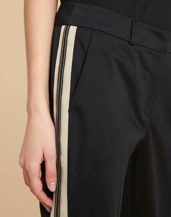 Pantalon slim noir à bandes coton 7/8 Francis PhotoZ | 1-2-3