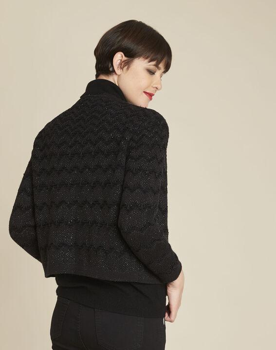 Zwart vest van decoratief tricot Bamel (4) - 37653
