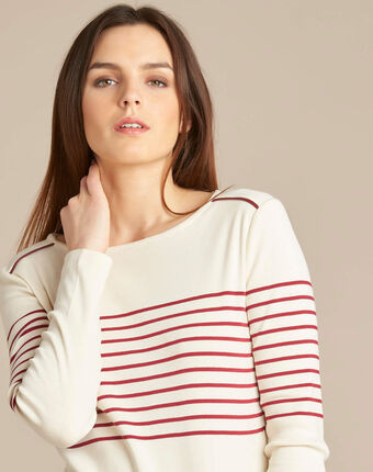 Escorteur striped red sweater with rounded neckline crimson.