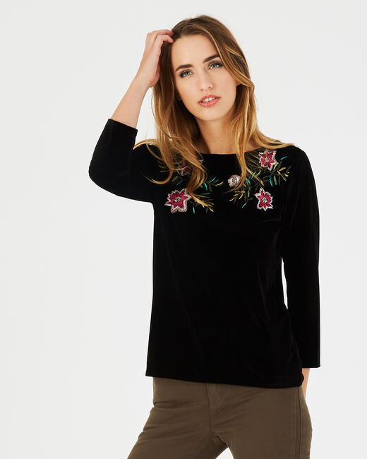 Bardane black T-shirt with embroidered flowers (2) - 1-2-3