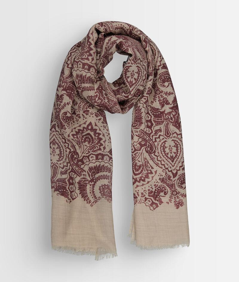 Foulard en laine imprimé bordeaux Paisley PhotoZ | 1-2-3