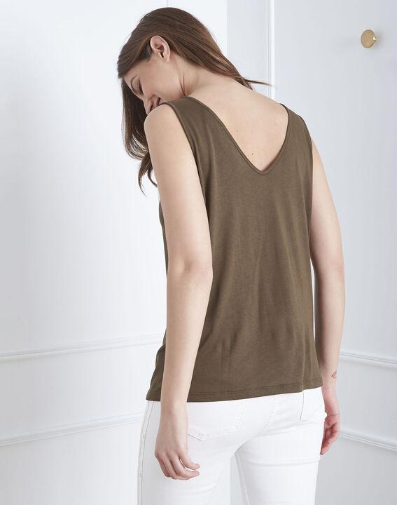 Khakifarbenes T-Shirt mit Motiven Pavlova (4) - Maison 123