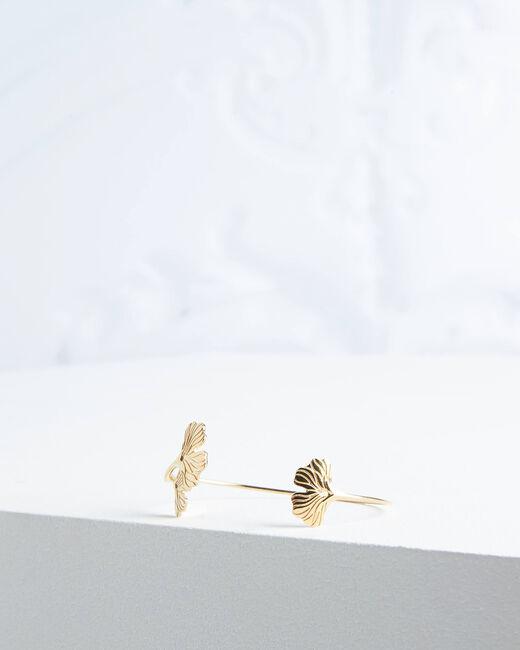 Bracelet jonc doré feuille Oby (1) - 1-2-3