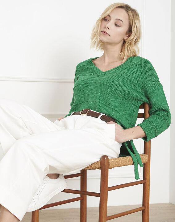 Grüner Lurex-Pullover mit Api-Schnürung PhotoZ | 1-2-3