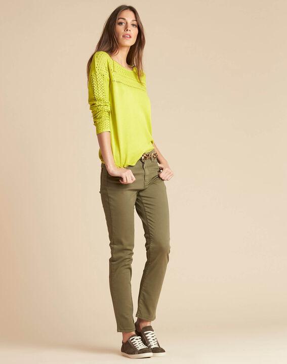 Khakifarbene Slim-Fit-Jeans normale Leibhöhe Vendome (2) - 1-2-3