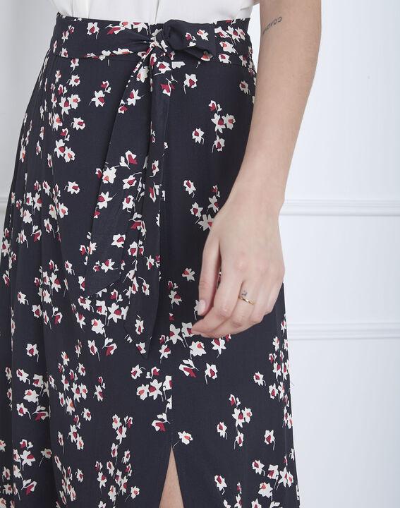 Jupe noire longue imprimée fente Sweety (3) - Maison 123