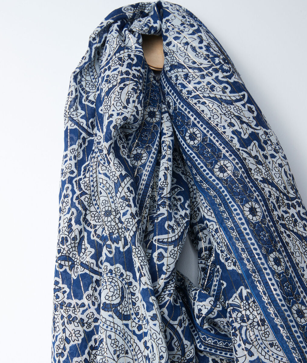 Foulard imprimé cachemire bleu Bianca PhotoZ | 1-2-3