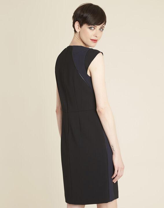 Daffo black straight-cut dress in microfibre (4) - 1-2-3