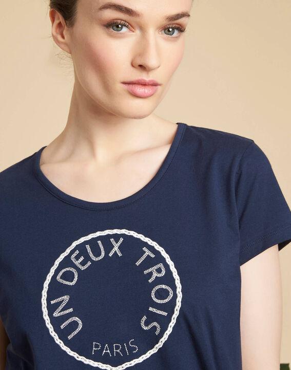 Tee-shirt marine brodé en coton Enoeud PhotoZ | 1-2-3