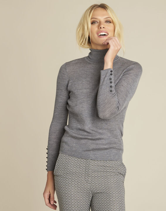 Basile grey fine-knit turtleneck pullover (1) - Maison 123