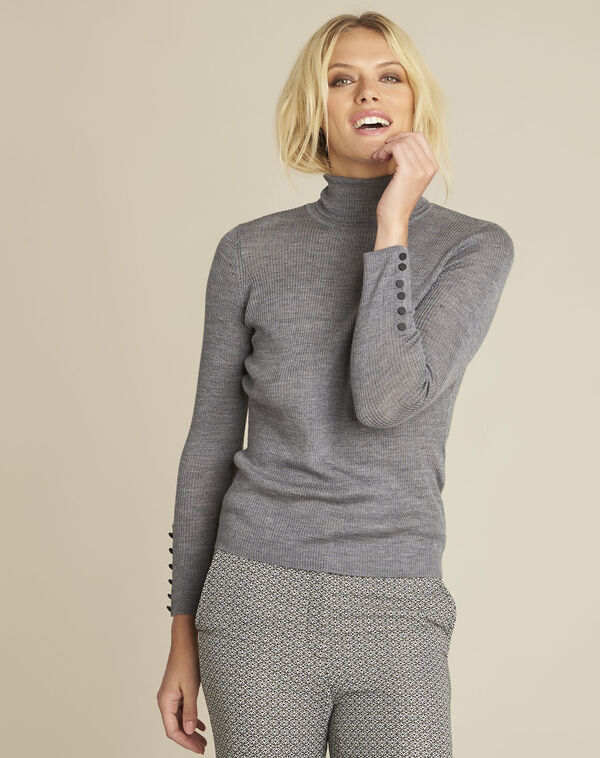Grijze trui van fijn tricot met rolkraag Basile (1) - 37653