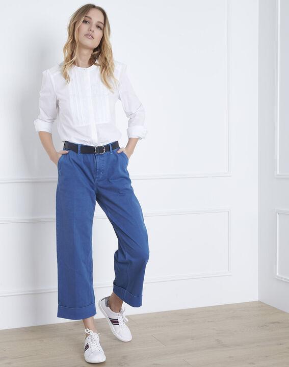 Ecrufarbene Bluse mit besticktem Plastron Vahina (1) - Maison 123