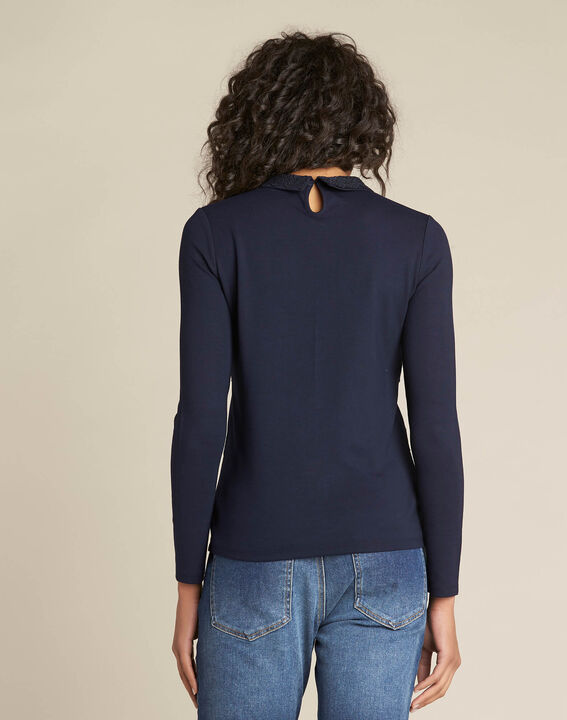 Ebeatrice long-sleeved embroidered blue T-shirt with shirt collar (4) - 1-2-3
