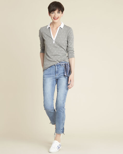 Tee-shirt gris imprimé encolure contrastée Galice (2) - 1-2-3