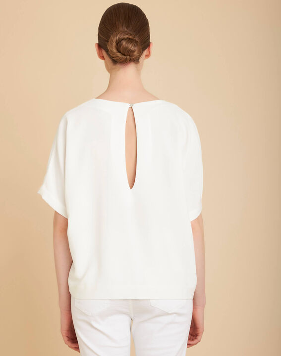 Gwen ecru T-shirt with beaded pockets (4) - 1-2-3