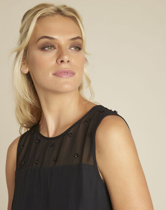 Norma black dress with net and embroidered neckline black.