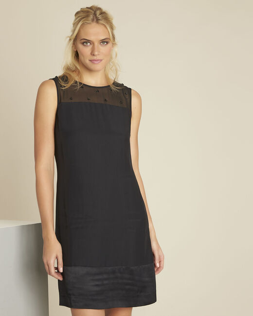 Robe noire encolure brodée résille Norma (2) - 1-2-3