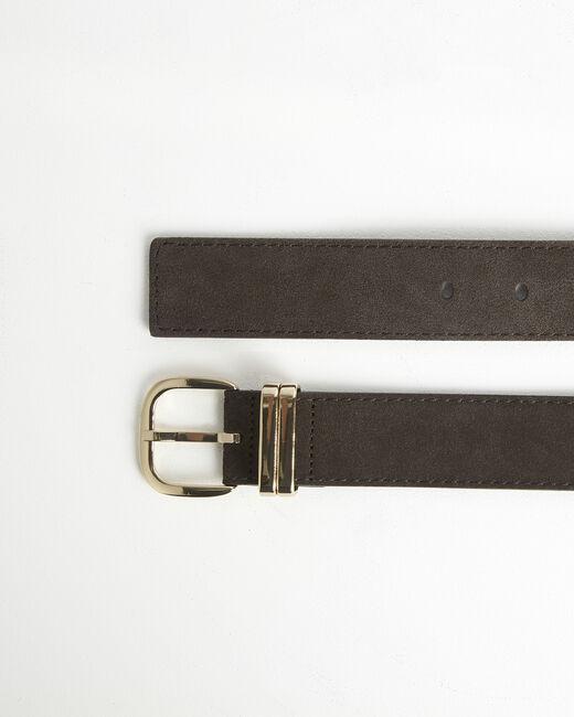 Rime velvet-effect dark chestnut leather belt (1) - 1-2-3