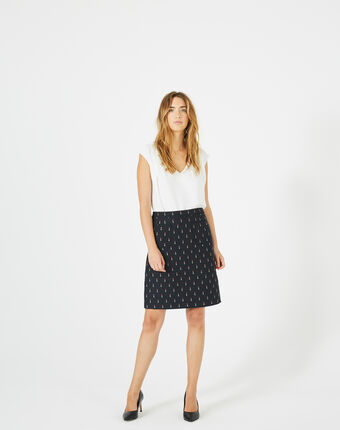 Ficelle navy blue skirt with lipstick print navy.
