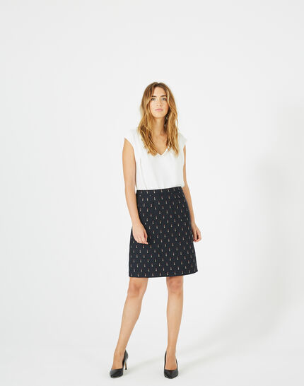 Ficelle navy blue skirt with lipstick print (1) - 1-2-3