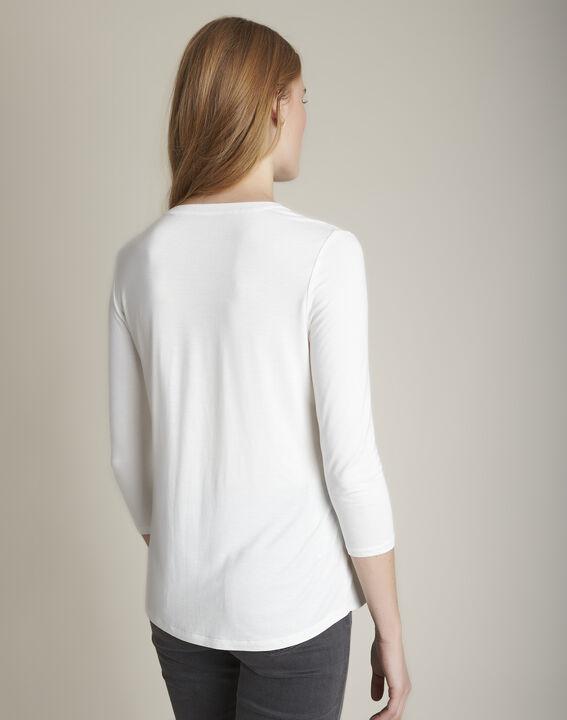 Ecrufarbenes T-Shirt im Materialmix mit Tunika-Kragen Genna (4) - 1-2-3