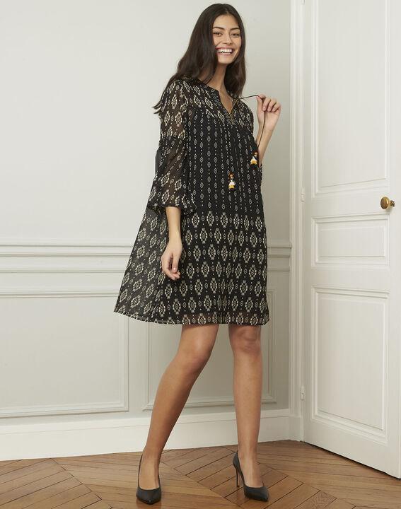 Zwarte jurk met fantasiemotieven Loise (2) - 37653