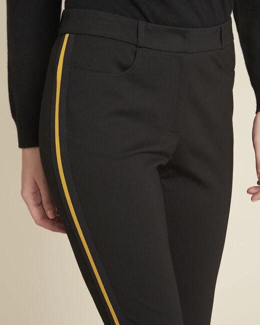 Pantalon noir milano bande gros grain Helga (2) - 1-2-3