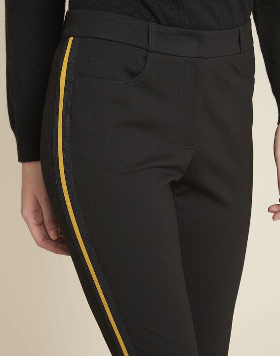 Pantalon noir milano bande gros grain Helga (3) - 1-2-3