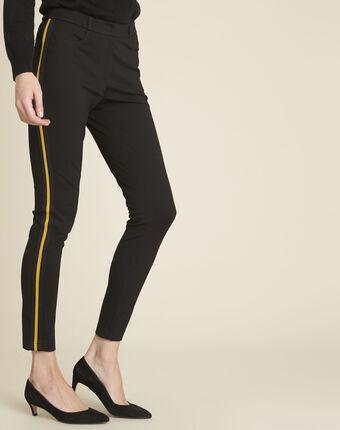 Helga black milano trousers with grosgrain band black.