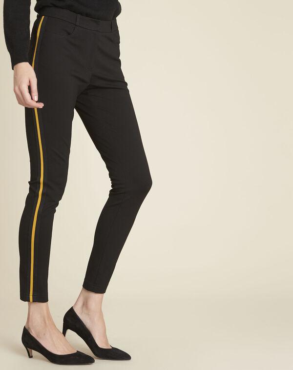 Zwarte milano broek met band van grove korrel Helga (1) - 37653