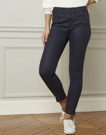Marineblauwe slim fit 7/8-jeans met coating opera marine.