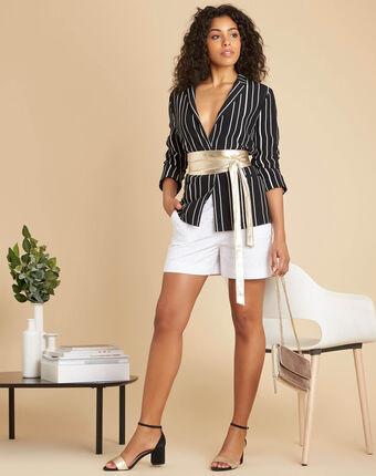 Veste tailleur noire rayée charlie noir/blanc.