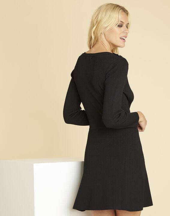 Robe noire en maille boutons épaules Drys (4) - 1-2-3