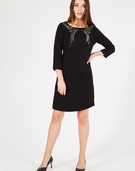 Schwarzes Kleid mit Adler-Stickerei Abby (1) - 1-2-3