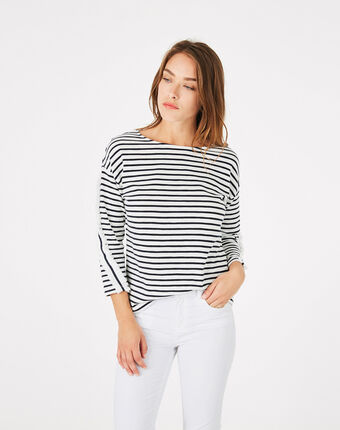 Tee-shirt rayé en coton babord marine.
