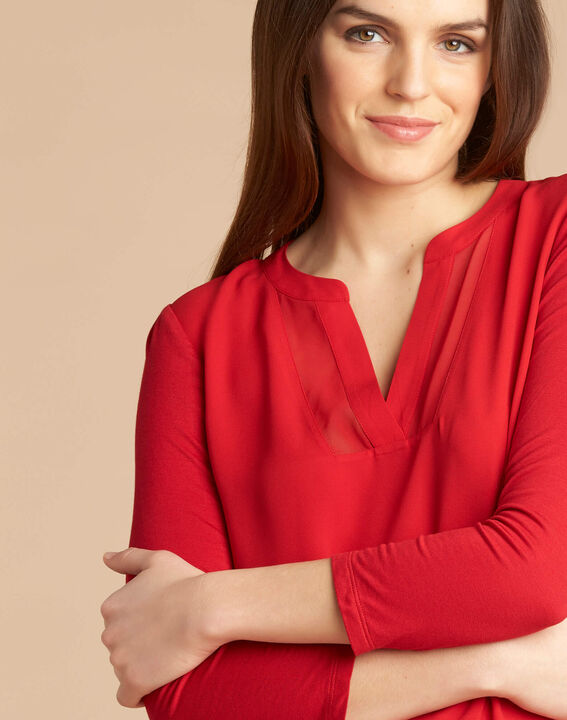 Tee-shirt rouge col tunisien manches 3/4 Bianca (1) - 1-2-3