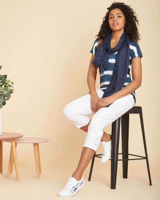 Tee-shirt bleu à rayures effet tie and dye Elea (1) - 1-2-3