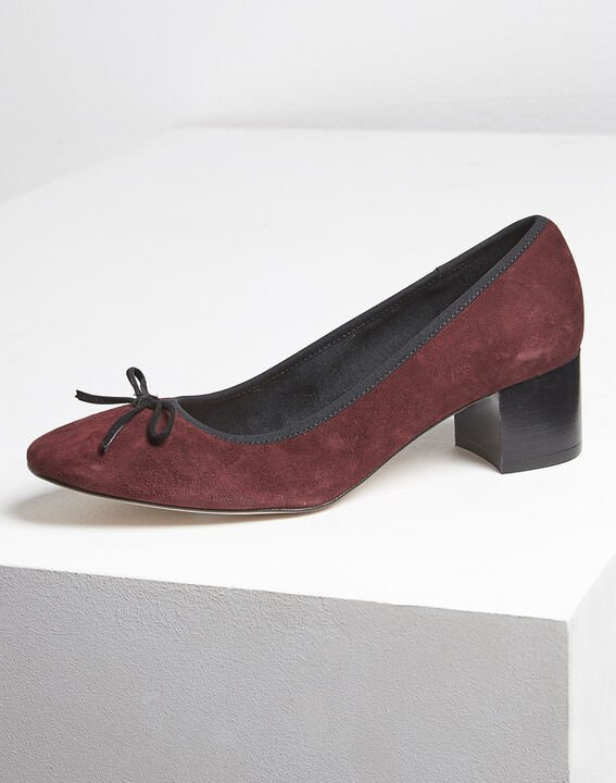 Kalista burgundy suede leather ballet flats with heel (2) - Maison 123