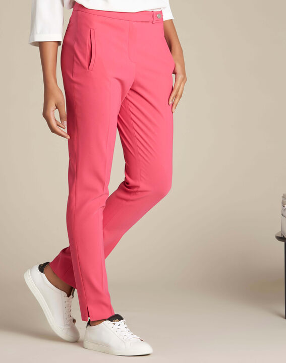 Lara red slim-cut fitted trousers (3) - 1-2-3