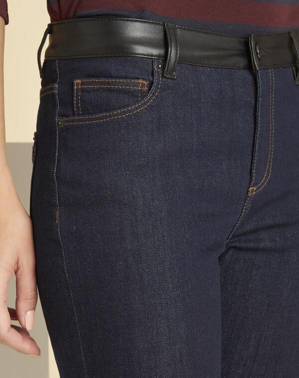Jean brut droit détail faux cuir ceinture Vivienne (2) - 1-2-3